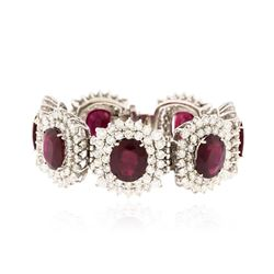 14KT White Gold 66.64 ctw Ruby and Diamond Bracelet