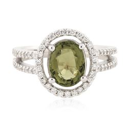 14KT White Gold 2.06 ctw Green Tourmaline and Diamond Ring