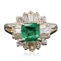 14KT Yellow Gold 1.18 ctw Emerald and Diamond Ring