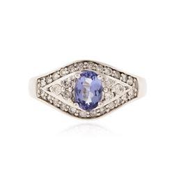 14KT White Gold 0.69 ctw Tanzanite and Diamond Ring