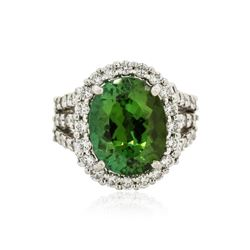 Platinum GIA Certified 4.99 ctw Green Tourmaline and Diamond Ring