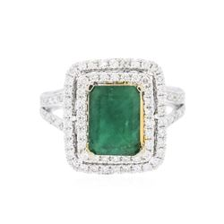 14KT Two-Tone Gold 2.53 ctw Emerald and Diamond Ring