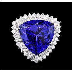 14KT White Gold GIA Certified 28.96 ctw Tanzanite and Diamond Ring