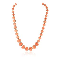 14KT Yellow Gold 78.52 ctw Coral and Diamond Necklace