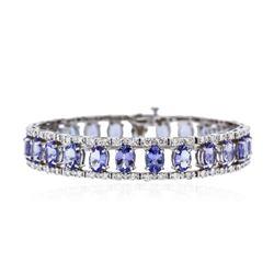 14KT White Gold 22.50 ctw Tanzanite and Diamond Bracelet