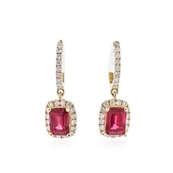 14KT Yellow Gold 2.87 ctw Ruby and Diamond Earrings