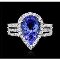 14KT White Gold 3.99 ctw Tanzanite and Diamond Ring