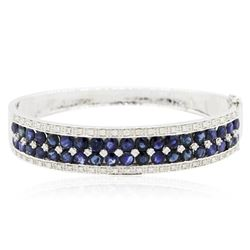 14KT White Gold 10.41 ctw Sapphire and Diamond Bangle Bracelet