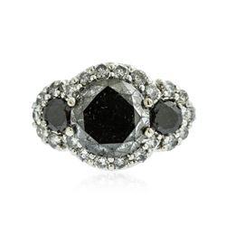 14KT White Gold 4.39 ctw Black Diamond Ring