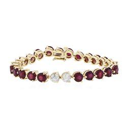 14KT Yellow Gold 22.60 ctw Ruby and Diamond Bracelet