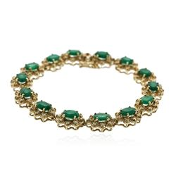 14KT Yellow Gold 10.20 ctw Emerald and Diamond Bracelet
