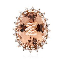 14KT Rose Gold 26.21 ctw GIA Certified Morganite and Diamond Ring