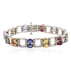 14KT White Gold 20.04 ctw Multi Gemstone and Diamond Bracelet
