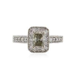 14KT White Gold 1.34 ctw Fancy Green Diamond Ring