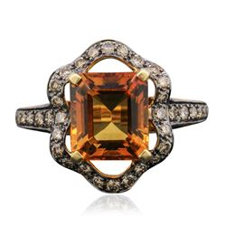 14KT Yellow Gold 4.11 ctw Citrine and Diamond Ring