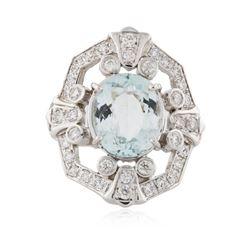14KT White Gold 4.51 ctw Aquamarine and Diamond Ring