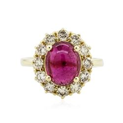 14KT Yellow Gold 3.75 ctw Rubellite and Diamond Ring