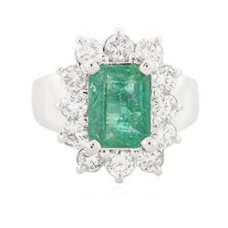 14KT White Gold 2.22 ctw Emerald and Diamond Ring