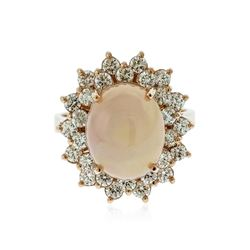 14KT Rose Gold 8.25 ctw Opal and Diamond Ring
