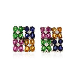 14KT White Gold 4.00 ctw Multicolor Sapphire and Diamond Earrings