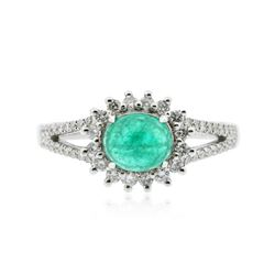 18KT White Gold 0.93 ctw Emerald and Diamond Ring