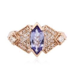 14KT Rose Gold 1.10 ctw Tanzanite and Diamond Ring