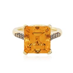 14KT Yellow Gold 8.50 ctw Citrine and Diamond Ring