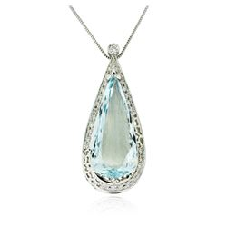 14KT White Gold 42.66 ctw Aquamarine and Diamond Pendant With Chain
