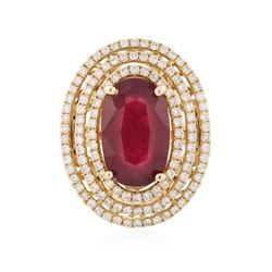 14KT Yellow Gold 8.09 ctw Ruby and Diamond Ring