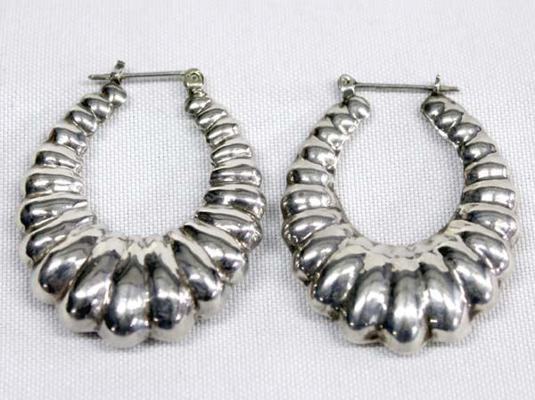 a596f461a Image 1 : Large Sterling Silver Hoop Earrings ...