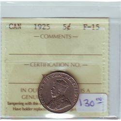 5 cents 1925, ICCS F-15.