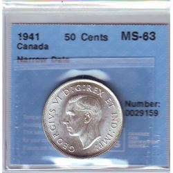 50 cents 1941, CCCS MS-63; Narrow Date.