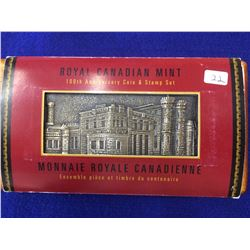 50 cents 1998-2008 90th Anniversary of the RCM Mirror Proof in Wood case with 2 stamps with sleeve a