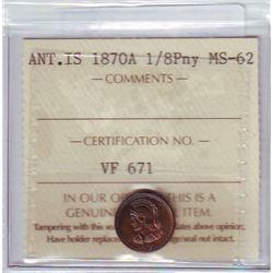 Anticosti Island 1870A, 1/8 Penny, ICCS MS-62.