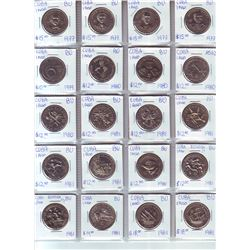 Cuba; Lot of 20 commemorative 1 Peso coin from 1977 (5) , 1980 (4) & 1981 (11) all BU and worth betw