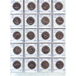 Cuba; Lot of 20 commemorative 1 Peso coin from 1982 (6) , 1983 (3), 1984 (4)  & 1985 (2) all BU and