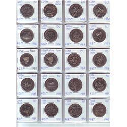 Cuba; Lot of 20 commemorative 1 Peso coin from 1985 (1) , 1986 (5), 1987 (5), 1988 (2), 1989 (4)  &