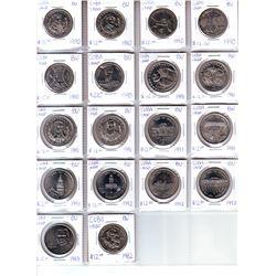 Cuba; Lot of 18 commemorative 1 Peso coin from 1982 (1) , 1990 (6), 1991 (7), 1992 (3) & 1993 (1) al