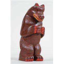 "Northwest Coast Carved Bear Holding Spirit 9 3/4"" H.  Good Condition"