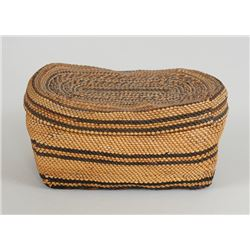 """Finely Woven Nuu-chah-nulth Lidded Basket with Geometric Banded Design 4 1/2"""" L. 2 1/2"""" W. 2"""" H.  Go"""
