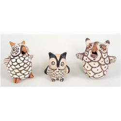 """Three Pottery Owls, Two Zuni and One Cochiti 2 3/4"""" H. - 3 3/4"""" H.  Fair Condition"""