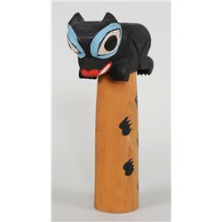"""George Mathers Sr. Carved Totem Study of Chief Shakes Totem In Wrangle, AK 10"""" H.  Good Condition"""