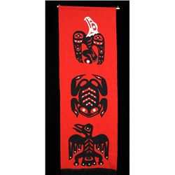 """Northwest Coast Applique Work Wall Hanging Decorated with Eagle, Frog and Whale 21""""x 61""""  Good Condi"""