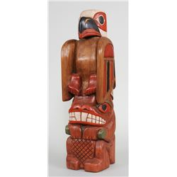 """Northwest Coast Totem Carved with Eagle and Beaver by Jerry Johnson Victoria, B.C. 25"""" H. 7"""" W.  Goo"""