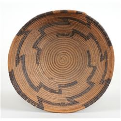 "Pomo Basketry Bowl with Geometric Design 8 3/4"" D. 3"" H.  Fair Condition"