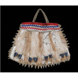 Tsimshian Deerskin Bag with Embroidered Design and Decorated with Deer Hooves - A.M.D. Fairbairn Col