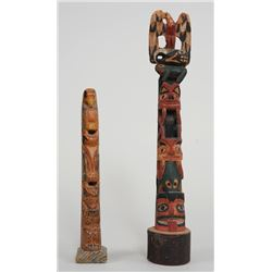 """Northwest Coast Totem Carved with Seven Figures 11 1/4"""" H.  Fair Condition and a Totem Carved with T"""