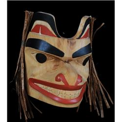 """Northwest Coast Wolf Mask Carved by Geo Mackay 6"""" H. 5"""" W.  Good Condition"""
