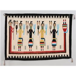 """Navajo Yei Rug 35""""x 52""""  Good Condition with Two Minor Holes"""