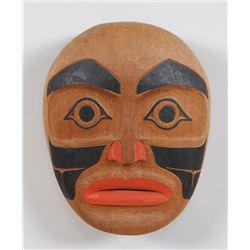 "Northwest Coast Portrait Mask Signed GM 11"" H. 9 1/2"" W.  Good Condition"